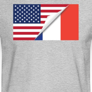 Half American Half French Flag - Men's Long Sleeve T-Shirt