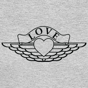 Love - Wings Design (Black Outline) - Men's Long Sleeve T-Shirt