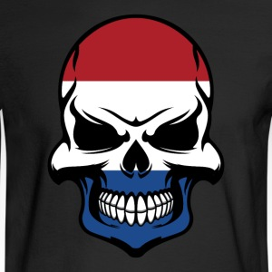 Dutch Flag Skull Cool Netherlands Skull - Men's Long Sleeve T-Shirt