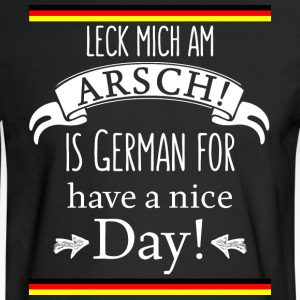 Funny German Translations Leck mich am Arsch! - Men's Long Sleeve T-Shirt