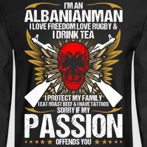 Im An Albanianman I Love Freedom Love Rugby - Men's Long Sleeve T-Shirt