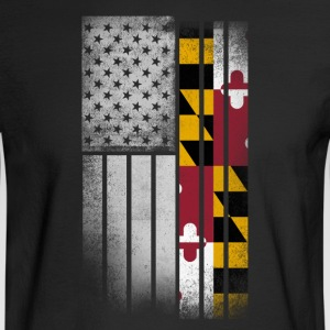 USA Vintage Maryland State Flag - Men's Long Sleeve T-Shirt