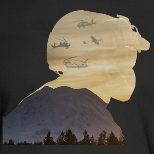 Crew Chief Silhouette with Mount Rainier - Men's Long Sleeve T-Shirt