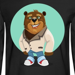 Cool California Hippie Brown Bear Artwork - Men's Long Sleeve T-Shirt