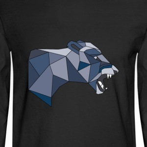 Geometric Lioness in Shades of Grey & Blue - Men's Long Sleeve T-Shirt