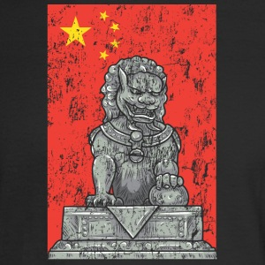 chinese flag and statue - Men's Long Sleeve T-Shirt
