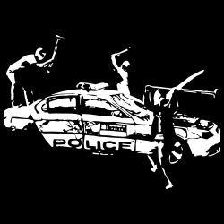 Rioters attacking a police car