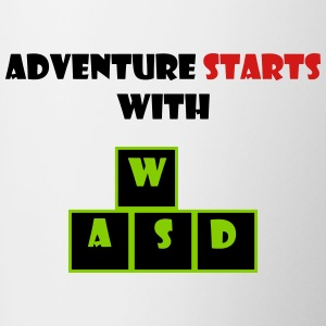 adventure starts with wasd - Contrast Coffee Mug