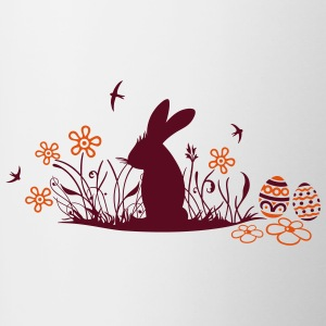 Easter bunny with Easter Eggs and flowers - Contrast Coffee Mug