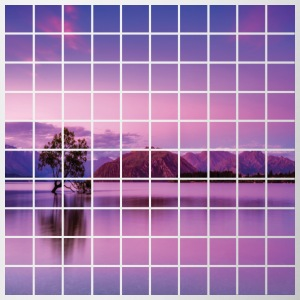 Purple Grid Lake - Contrast Coffee Mug