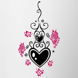 Hearts with tribal, flowers and butterflies - Contrast Coffee Mug
