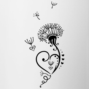 Dandelion with hearts in Tribal-, Tattoo Style. - Contrast Coffee Mug