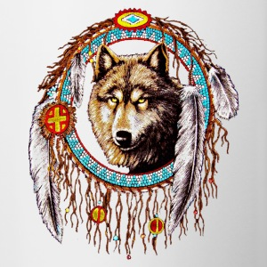 Wolf dream catcher Indian Native - Contrast Coffee Mug