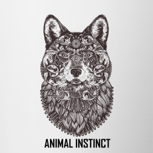 Animal Instinct - Black Wolf T-shirts Clothing - Contrast Coffee Mug