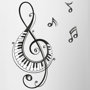 Clef with piano and music notes, i love music. - Contrast Coffee Mug