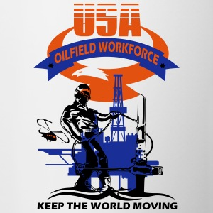 USA Oil Rig Workforce Keep The World Moving - Contrast Coffee Mug