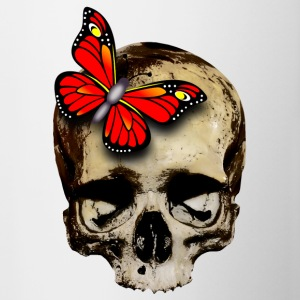 skull with red butterfly - Contrast Coffee Mug