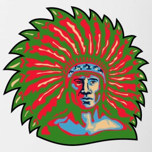 red_plumage_indian_chief_green - Contrast Coffee Mug