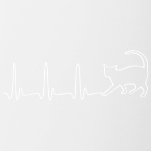 EKG HEARTBEAT CAT white - Contrast Coffee Mug