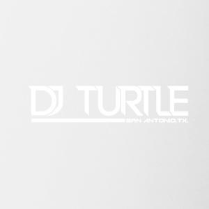 dj turtle white logo - Contrast Coffee Mug