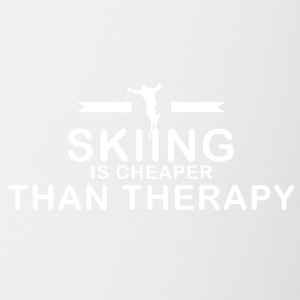 Skiing is cheaper than therapy - Contrast Coffee Mug