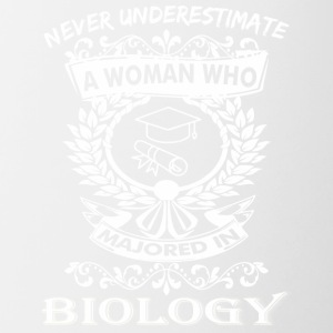 Never Underestimate Woman Who Majored Biology - Contrast Coffee Mug