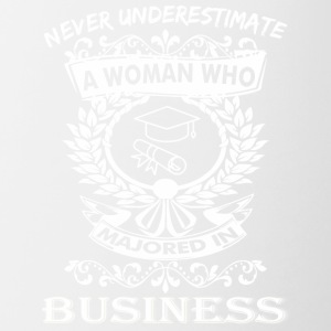 Never Underestimate Woman Majored Business Admin - Contrast Coffee Mug