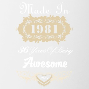 Made in 1981 36 years of being awesome - Contrast Coffee Mug