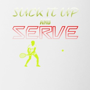 Suck It Up And Serve Tennis - Contrast Coffee Mug