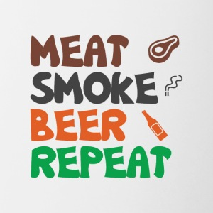 Meat Smoke Beer Repeat Tee Shirt - Contrast Coffee Mug