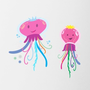 two cute jellyfish - Contrast Coffee Mug
