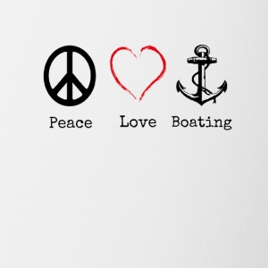 Peace Love and Boating, Funny Boating Gift - Contrast Coffee Mug
