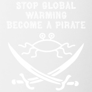 stop global warming and become a pirate FSM white - Contrast Coffee Mug