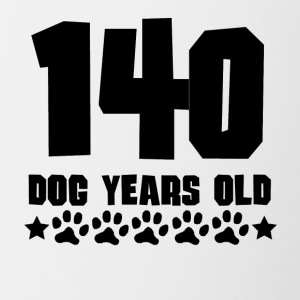 140 Dog Years Old Funny 20th Birthday - Contrast Coffee Mug