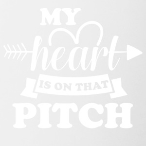 My heart is on that pitch - Contrast Coffee Mug