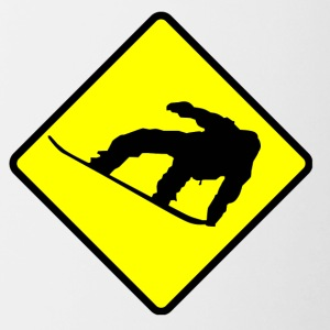 Snowboarder Crossing Sign - Contrast Coffee Mug