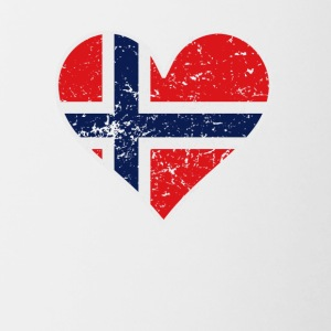 Distressed Norwegian Flag Heart - Contrast Coffee Mug