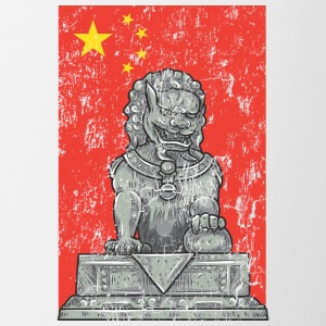 chinese flag and statue - Contrast Coffee Mug