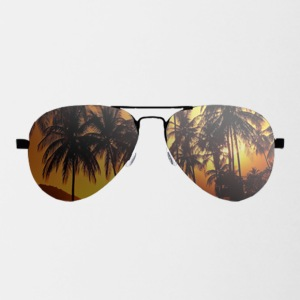 glasses with palm trees - Contrast Coffee Mug