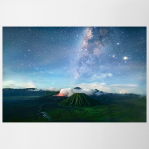Volcano with the pretty Galaxy - Contrast Coffee Mug