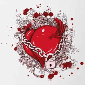 Heart chain lock wings drawing blood - Coffee/Tea Mug