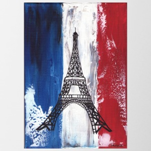 Grunge Paris flag and Eiffel tower - Coffee/Tea Mug