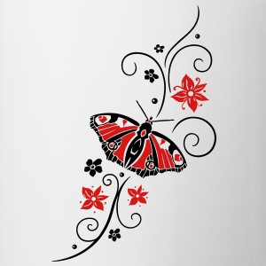 Big colorful butterfly with filigree tribal. - Coffee/Tea Mug