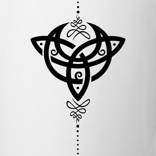 Celtic moon crescent moon with Trinity symbol  | Mirror