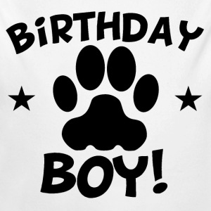 Birthday Boy Paw Print - Long Sleeve Baby Bodysuit