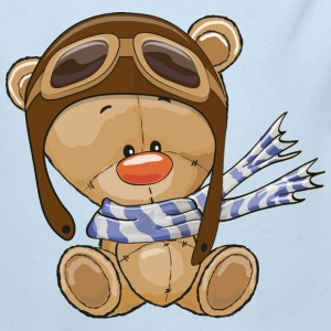 bear-pilot-scarf-sky - Long Sleeve Baby Bodysuit