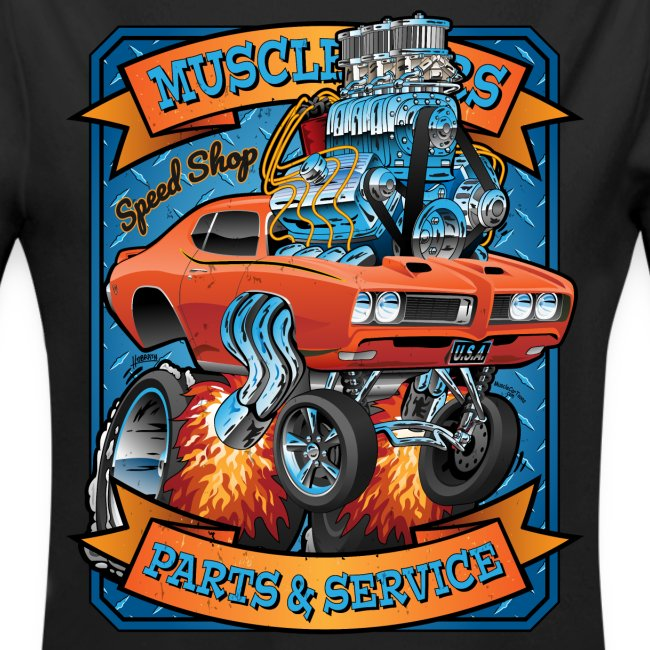 Classic Sixties Muscle Car Parts & Service Cartoon