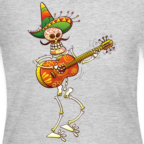 Mexican Skeleton Playing Guitar - Women's Long Sleeve Jersey T-Shirt