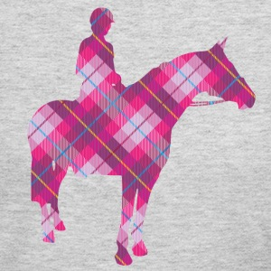 Tartan Horse and Rider - Women's Long Sleeve Jersey T-Shirt