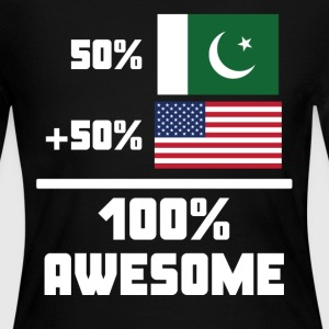50% Pakistani 50% American 100% Awesome Flag - Women's Long Sleeve Jersey T-Shirt